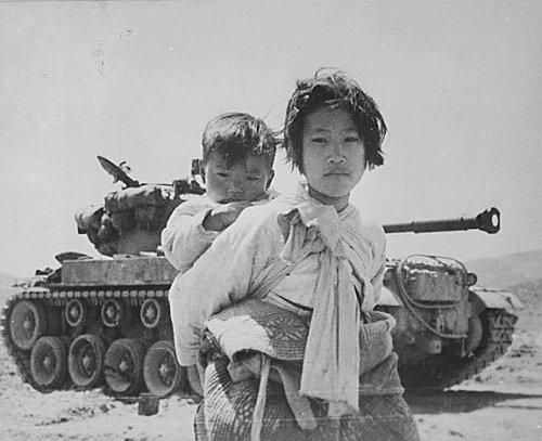 Niños refugiados en la guerra de Korea