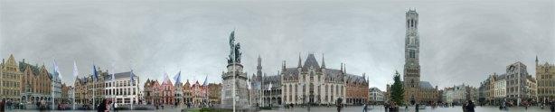 Plaza del mercado de Brujas en 360º